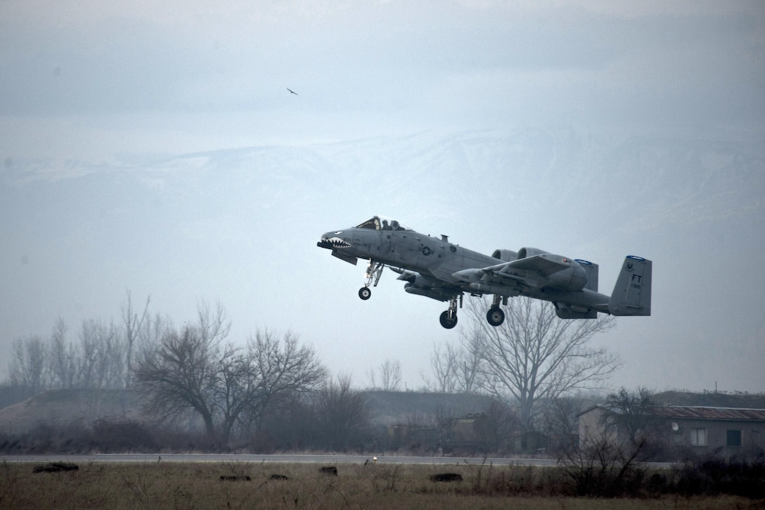 A 74th Expeditionary Fighter Squadron A-10C Thunderbolt II aircraft takes off during a training exercise at Plovdiv, Bulgaria, Feb. 10, 2016. The aircraft deployed to Bulgaria in support of Operation Atlantic Resolve to bolster air power capabilities while assuring the U.S. commitment to European security and stability. (U.S. Air Force photo by Airman 1st Class Luke Kitterman/Released)
