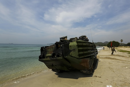 A U.S. Marine Corps amphibious combat vehicle comes ashore in an amphibious capabilities demonstration at Hat Yao, Rayong, Thailand, during exercise Cobra Gold, Feb. 11, 2016. Cobra Gold is a multinational training exercise developed to strengthen security and interoperability between the Kingdom of Thailand, the U.S. and other participating nations.