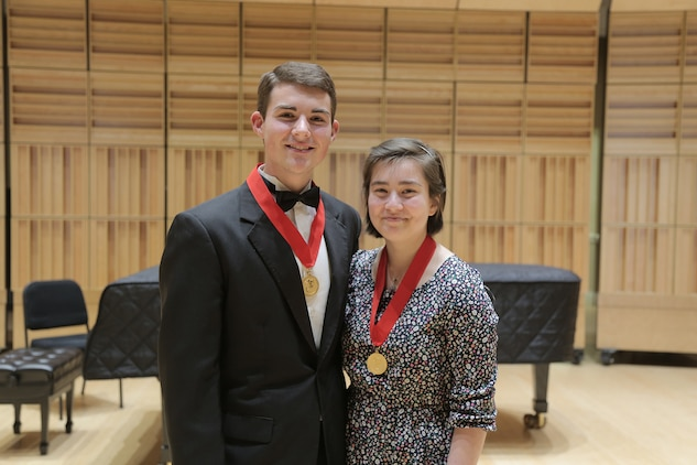 On Feb. 13, 2016, flute player Mei Stone of Waco, Texas, won the Marine Band Concerto Competition and received a $2,500 scholarship from the Marine Corps Heritage Foundation. Runner up was French horn player Camron Bryant of Phenix City, Ala. Mei is a senior at the Interlochen Arts Academy in Michigan and will return on April 10 to perform the Chaminade Concertino for Flute with the Marine Band.
