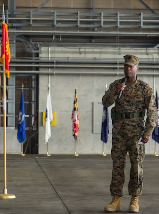Sgt. Maj. Darnell Richardson, outbound Marine Aviation Logistics Squadron 12 sergeant major, addresses the audience during his relief and appointment ceremony at Marine Corps Air Station Iwakuni, Japan, Feb. 12, 2016. This ceremony symbolizes the end of Richardson's role as MALS-12 sergeant major after assuming the role in June 2014.