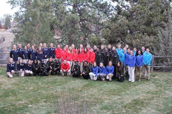 Service teams from the Army, Marine Corps, Navy and Air Force gather together for a group photo.  The 2016 Armed Forces Cross Country Championship was held in conjunction with the USA Track and Field National Championship in Bend, Ore.  Army Men and Women teams swept the team competitions.  Army Men captured their third straight title with the Women repeating their 2015 performance.  Photo by Tom Higgins, Army Sports
