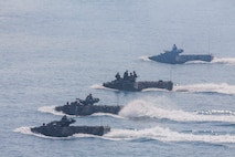 Amphibious Assault Vehicles from the Royal Thai, Republic of Korea, and U.S. Armed Forces participate in an amphibious capabilities demonstration at Hat Yao beach, Rayong, Thailand, during exercise Cobra Gold 16, Feb. 11, 2016. CG16 is a multinational training exercise developed to strengthen security and interoperability between the Kingdom of Thailand, the U.S. and other participating nations.