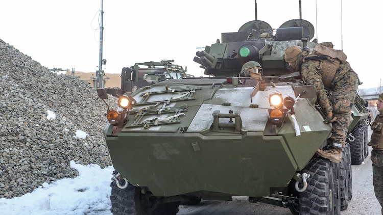 A light-armored vehicle awaits transportation by rail to Rena, Norway, where the 2nd Marine Expeditionary Brigade's ground combat element will take part in live-fire exercise in the coming days. The rail operations and live-fire exercise are taking place in preparation for Exercise Cold Response 16, comprised of 13 allied and partner nations, and over 16,000 troops, starting later this month.