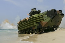 U.S. Marine Corps Assault Amphibious Vehicles come ashore in an amphibious capabilities demonstration at Hat Yao, Rayong, Thailand, during exercise Cobra Gold, Feb. 12, 2016.  Cobra Gold is a multinational training exercise developed to strengthen security and interoperability between the Kingdom of Thailand, the U.S. and other participating nations.