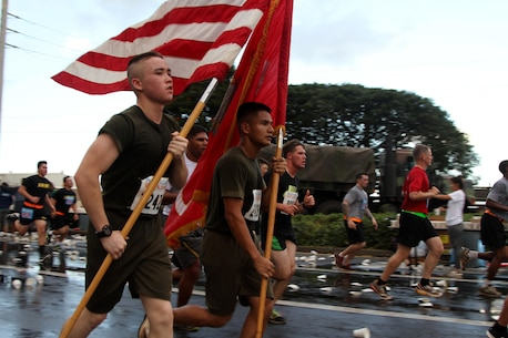 U.S. Marines from U.S. Marine Corps Forces, Pacific and Marine Corps Base Hawaii run in the Great Aloha Run in Pearl Harbor, Hawaii Feb. 15, 2016.  The Great Aloha Run is an annual charity event with more than 30,000 participants and 6,000 military service members. Marines participated in the Sounds of Freedom portion of the race, where they ran in memory of the fallen Marines from Marine Heavy Helicopter Squadron 463.