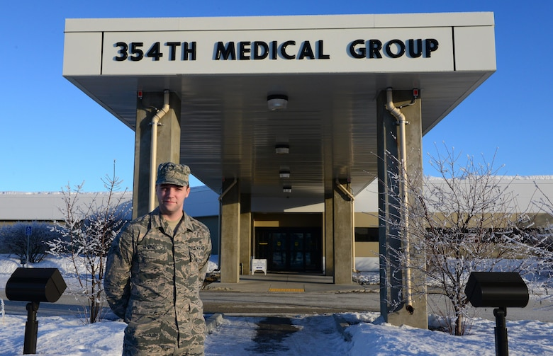 U.S. Air Force Airman 1st Class Chasten Gibbs, 354th Medical Group bioenvironmental engineering apprentice, takes a quick break Feb. 3, 2016 at Eielson Air Force Base, Alaska. Gibbs said he is responsible for identifying potential hazards, analyzing said hazards, and then communicating to workers and their leadership the best ways to control those hazards. (U.S. Air Force photo by Airman 1st Class Cassandra Whitman/Released)