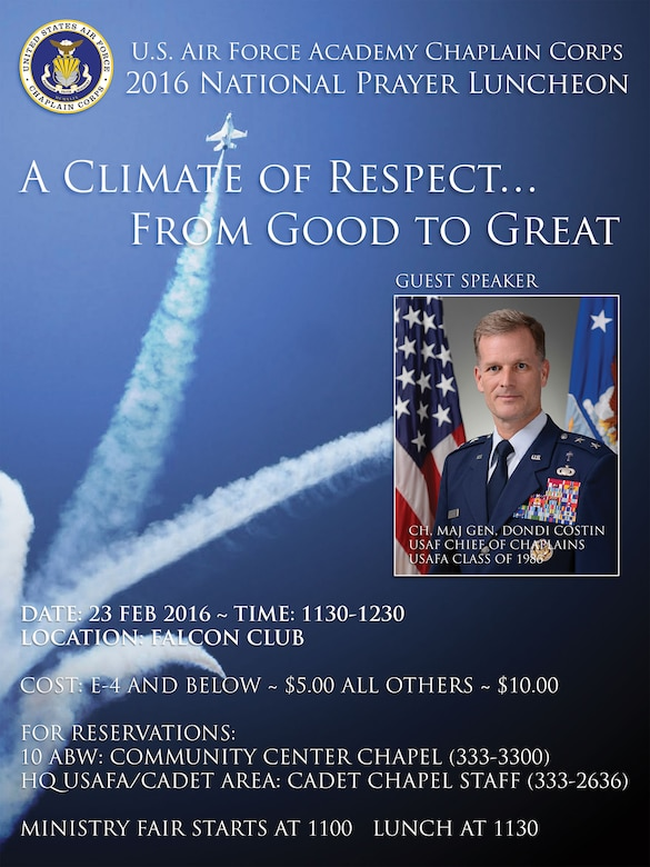 Informational advertisement for the USAFA 2016 National Prayer Luncheon