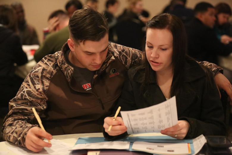 Corporal Nick Nelson and his wife, Sgt. Alice Nelson, review a personal inventory during the semi-annual Chaplain's Religious Enrichment Development Operation Marriage Enrichment Retreat in New Bern, Feb. 5-6. More than 30 couples attended the retreat and participated in various relationship strengthening activities including: Hidden Keys to a Loving Relationship, The Love Bank, Love Busters and Love Builders. Nick is an airframes mechanic with Marine Medium Tiltrotor Squadron 365 and Alice is an aviation ordnance technician with Marine Aviation Logistics Squadron 14. (U.S. Marine Corps Photo by Sgt. Grace L. Waladkewics/Released)