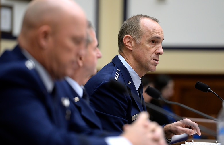 Air Force Vice Chief of Staff Gen. David Goldfein testifies before the House Armed Services Committee on the current readiness of the service in Washington, D.C., Feb. 12, 2016. Testifying with him were Lt. Gen. John Raymond, the Air Force deputy chief of staff for operations, and Lt. Gen. John Cooper, the deputy chief of staff for logistics, engineering and force protection. (U.S. Air Force photo/Scott M. Ash)