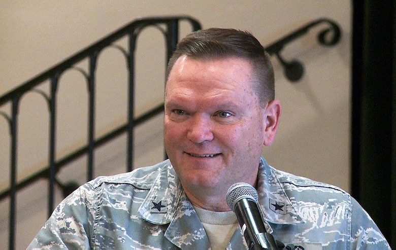 "Brig. Gen. Samuel ""Bo"" Mahaney, Air Reserve Personnel Center commander, speaks to attendees during a breakfast honoring ARPC's annual award winners Feb. 16, 2016, at the Heritage Eagle Bend Country Club in Aurora, Colo. (U.S. Air Force photo/Quinn Jacobson)"