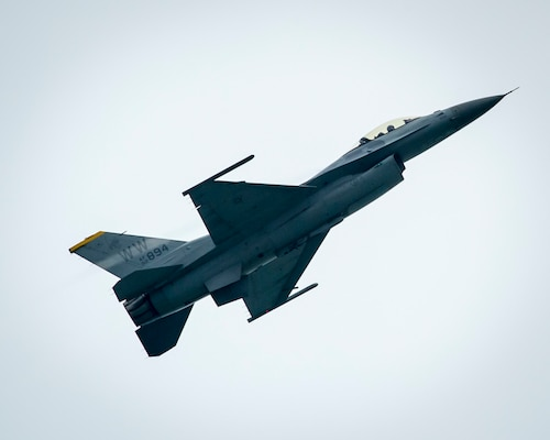 A U.S. Air Force F-16 Fighting Falcon from the 35th Fighter Wing at Misawa Air Base, Japan, practices its aerial demonstration routine prior to the Singapore International Airshow at Changi International Airport Singapore, Feb. 15, 2016. Through participation in airshows and regional events, the U.S. demonstrates its commitment to the security of the Indo-Asia-Pacific region, promotes equipment interoperability, displays the flexible combat capabilities of the U.S. military, and creates lasting relationships with international audiences to strengthen the bonds that support partnership building throughout the Indo-Asia-Pacific region. (U.S. Air Force photo by Capt. Raymond Geoffroy/Released)