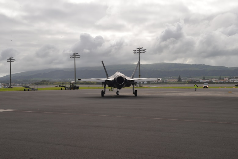 Air Force F-35A Lightning II lands at Lajes Field, Azores Portugal February 3, 2016. The Italian F-35A Lightning II refueled at Lajes Field on the first trans-Atlantic Ocean crossing from Cameri, Air Base Italy to Naval Air Station Patuxent River, Md., Feb 3-5. (U.S. Air Force photo by Ricky Baptista/Released)
