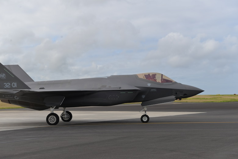 Air Force F-35A Lightning II lands at Lajes Field, Azores Portugal February 3, 2016. The Italian F-35A Lightning II refueled at Lajes Field on the first trans-Atlantic Ocean crossing from Cameri, Air Base Italy to Naval Air Station Patuxent River, Md., Feb 3-5. (U.S. Air Force photo by 1st Lt. Alexandra Trobe/Released)