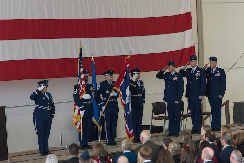 U.S. Air Force Col. Paul Lyman assumes command of the 153rd Airlift Wing from Col. Bradley Swanson during a change of command ceremony, Feb. 13, 2016 in Cheyenne, Wyoming. (U.S. Air National Guard photo by Master Sgt. Charles Delano/released)