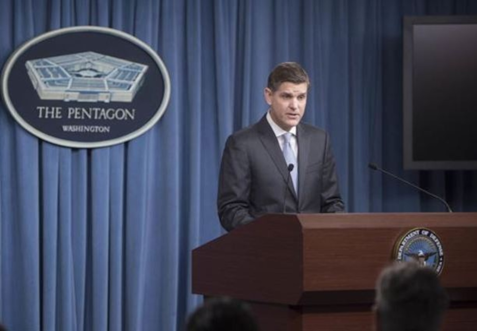 Pentagon Press Secretary Peter Cook addresses reporters' questions during a briefing at the Pentagon, Feb. 16, 2016. (DoD photo by Petty Officer 1st Class Tim D. Godbee)