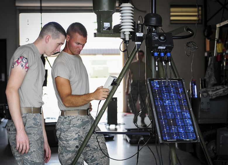 Tech. Sgt. Michael Nelson, NCO in charge of mission weather from Spangdahelm Air Base, Germany, observes a Portable Doppler Radar at Hurlburt Field, Fla., July 21, 2015. Nelson is training with the 2nd Combat Weather Systems Squadron for an upcoming deployment. 2 CWSS is the Air Force's primary facility to test and evaluate new and existing tactical and fixed weather systems, train Airmen on tactical systems prior to deployment and provide manpower for the Weather Systems Support Cadre. (U.S. Air Force photo by Senior Airman Meagan Schutter)