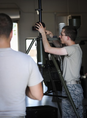 Senior Airman Andrew Jenner, a weather systems technician with the 2nd Combat Weather Systems Squadron, teaches troubleshooting techniques to deploying weather students at Hurlburt Field, Fla., July 21, 2015. 2 CWSS is the Air Force's primary facility to test and evaluate new and existing tactical and fixed weather systems, train Airmen on tactical systems prior to deployment and provide manpower for the Weather Systems Support Cadre. (U.S. Air Force photo by Senior Airman Meagan Schutter)
