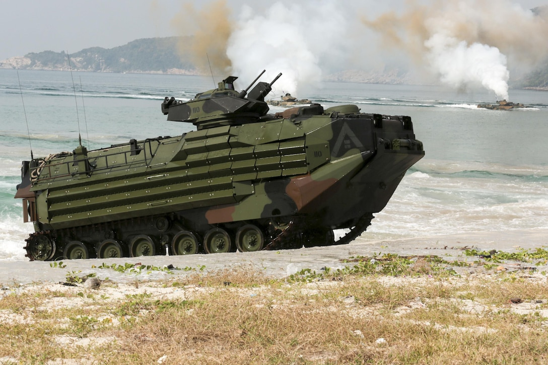A U.S. Marine Corps amphibious combat vehicle comes ashore during Exercise Cobra Gold at Hat Yao, Rayong, Thailand, Feb. 11, 2016.  Cobra Gold is a multinational training exercise developed to strengthen security and interoperability with participating nations. U.S. Marine Corps photo by Lance Cpl. Eryn L. Edelman