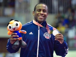 In his first time competing at the CISM World Military Games, Greco-Roman wrestler, U.S. Army Sgt. Justin Lester won Silver in the 75 kg weight division Oct. 10, 2015, in MunGyeong, South Korea.