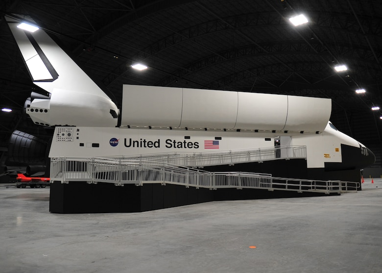 The Space Shuttle Exhibit featuring NASA's first Crew Compartment Trainer (CCT) in the Space Gallery at the National Museum of the U.S. Air Force. (U.S. Air Force photo)