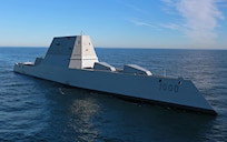 The future USS Zumwalt (DDG 1000) is underway for the first time conducting at-sea tests and trials in the Atlantic Ocean, Dec. 7.  The multi-mission ship will provide independent forward presence and deterrence, support special operations forces, and operate as an integral part of joint and combined expeditionary forces.