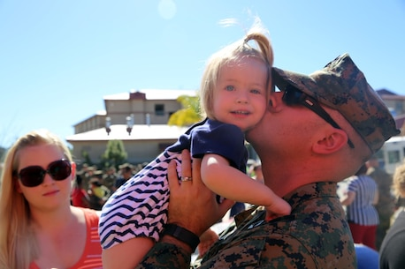 Petty Officer 1st Class Matthew Porzio, from Syracuse, New York, kisses his daughter on their last day together at Camp Pendleton Feb. 11, 2016. Matthew is a hospital corpsman with 1st Combat Logistics Regiment, deploying with the 13th Marine Expeditionary Unit to the Western Pacific and the Middle East. (U.S. Marine Corps photo by Cpl. John Baker)