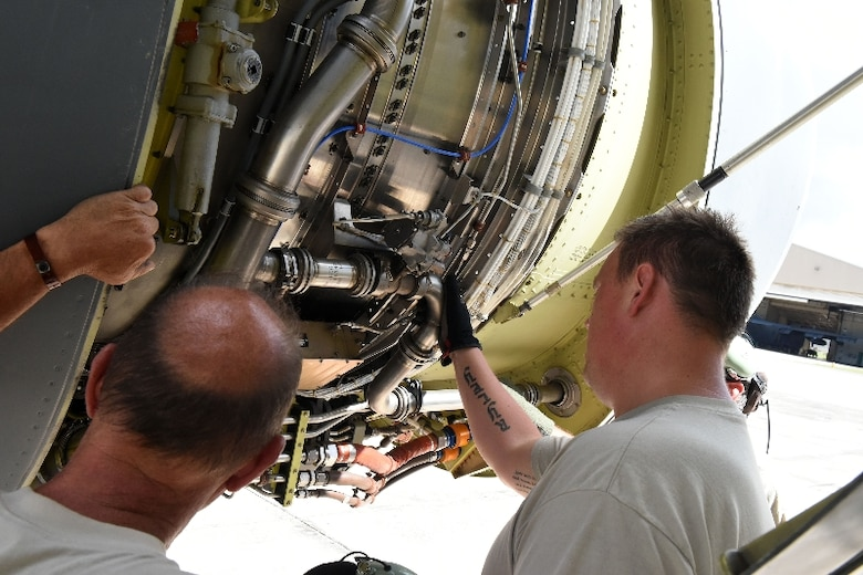 Aircraft maintenance from the Michigan Air National Guard conducts an engine inspections on their KC-135 after safely landing at the 156th Airlift Wing, Muñiz Air National Guard Base, Puerto Rico, Feb. 10, 2016. The 127th Wing, Selfridge Air National Guard Base, Michigan declared an emergency landing due to engine troubles during their transatlantic airlift mission from Africa and received mission support from the PRANG.  (U.S. Air National Guard photos by Tech. Sgt. Marizol Ruiz /Released)