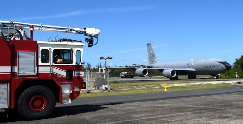 Firefighters, security forces and emergency responders of the 156th Airlift Wing, Muñiz Air National Guard Base, Puerto Rico provide emergency response to the 127th Wing, Selfridge Air National Guard Base, Michigan KC-135 Stratotanker, after reporting engine trouble during their transatlantic airlift mission, Feb. 10, 2016. The PRANG was able to meet the logistical needs of the KC-135 aircrew during their flight emergency due to Puerto Rico's strategic location between the U.S. and Africa. (U.S. Air National Guard photos by Tech. Sgt. Marizol Ruiz /Released)