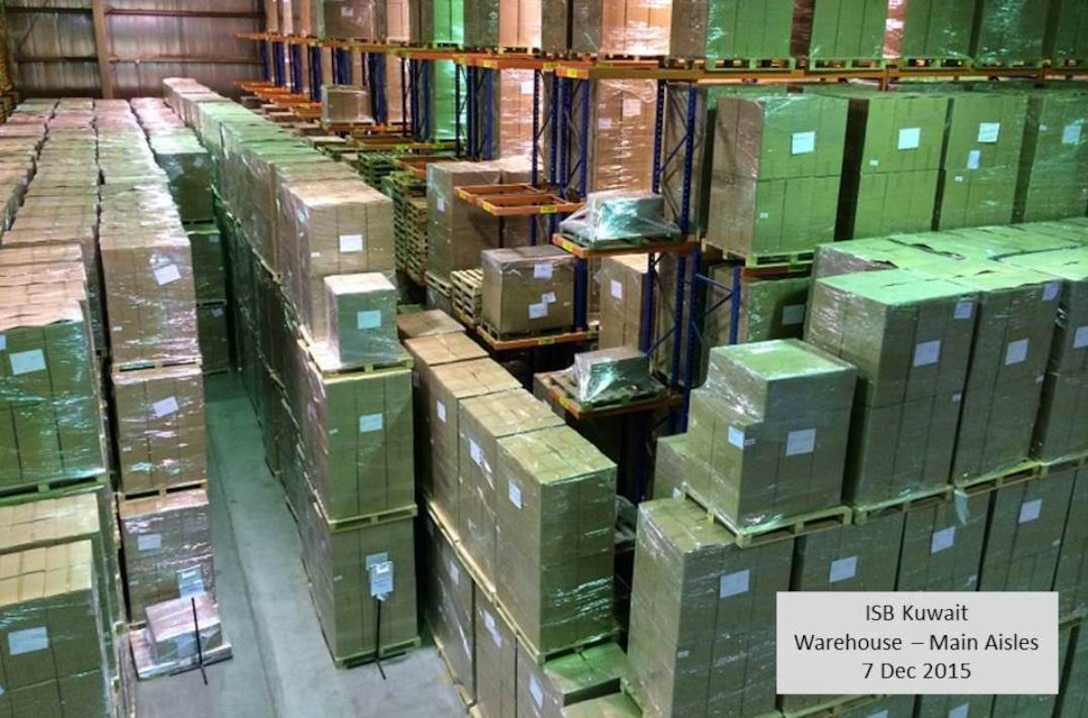 Non-food items sourced, packed and transported by DLA, await final delivery at the intermediate staging base in Kuwait.
