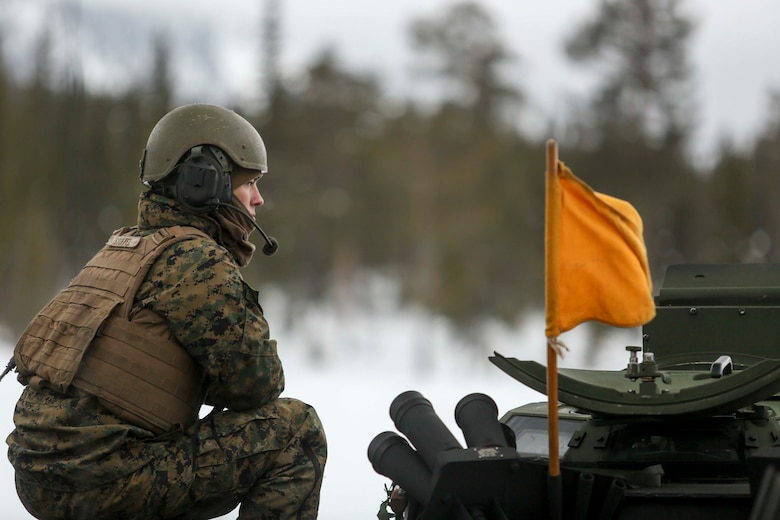 Cpl. Cody Stoffel, an amphibious assault vehicle crewman with Combined Arms Company, gives firing commands to the gunner of an amphibious assault vehicle crewman as Marines with 2nd Marine Expeditionary Brigade conduct a live-fire exercise in the frozen hills of Rena, Norway, Feb. 17, 2016. The Marines are preparing themselves for Exercise Cold Response 16, which will bring together 12 NATO allies and partner nations and approximately 16,000 troops in order to enhance joint crisis response capabilities in cold weather environments.  (U.S. Marine Corps photo by Cpl. Dalton A. Precht/released)