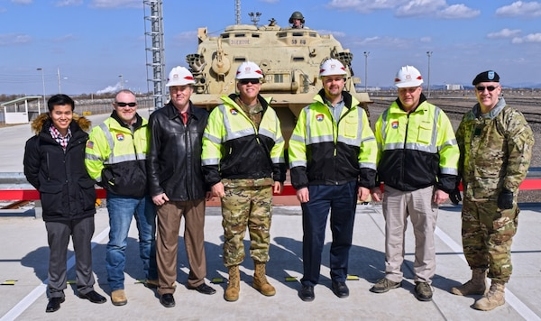 """We are at the forefront of incredible change, represented in a few minutes when we'll offload one of the heaviest pieces of equipment in the U.S. Army inventory. Before today, we were reliant on the airspace and the road networks to be able to move in an"