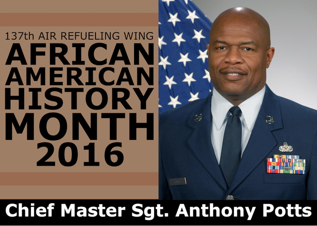 Chief Master Sgt. Anthony Potts overcame challenges in his own career to achieve his current rank and appreciates the Airmen who have come before him while continuing to mentor the Airmen who will follow him. The 137th Air Refueling Wing is highlighting the African-American Airmen who have helped to advance the U.S. Air Force, the Air National Guard and the 137th Air Refueling Wing in a four-part series as part of African American History Month. (U.S. Air National Guard illustration by Master Sgt. Andrew LaMoreaux)
