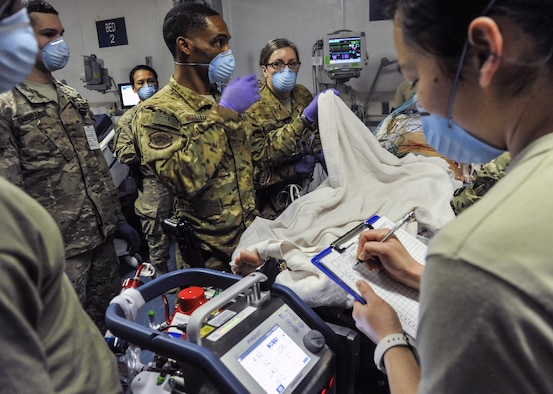 A 455th Expeditionary Medical Group team combines efforts with the Extracorporeal Membrane Oxygenation team to save the life of a NATO ally at the Craig Joint-Theater Hospital at Bagram Air Field, Afghanistan, on Feb. 18, 2016. The ECMO team, dispatched from San Antonio Military Medical Center, uses technology that bypasses the lungs and infuses the blood directly with oxygen, while removing the harmful carbon dioxide from the blood stream. The patient was airlifted to Landstuhl Regional Medical Center, Germany, where he will receive 7 to 14 days of additional ECMO treatment. (U.S. Air Force photo by Tech. Sgt. Nicholas Rau)