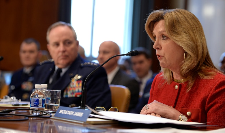 Air Force Secretary Deborah Lee James and Air Force Chief of Staff Gen. Mark A. Welsh III testify before the Senate Appropriations Committee on Defense in Washington, D.C., Feb. 10, 2016. The two leaders presented the fiscal year 2017 Air Force budget request. (U.S. Air Force photo/Scott M. Ash)