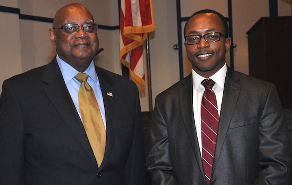 DAHLGREN, Va. - Dr. William Bundy, Gravely Naval Warfare Research Group director, and Michael Hobson, Naval Surface Warfare Center Dahlgren Division (NSWCDD) Black Employment Program manager (right), meet after Bundy's keynote speech at the NSWCDD 2016 Black History Month Observance, Feb. 11.  In his speech, Bundy - a retired Navy Captain who began his Navy career as a sonar technician - reflected on the lives and service of African-Americans, especially those who died in combat, making the land and seas from Pearl Harbor to the skies over Korea hallow.