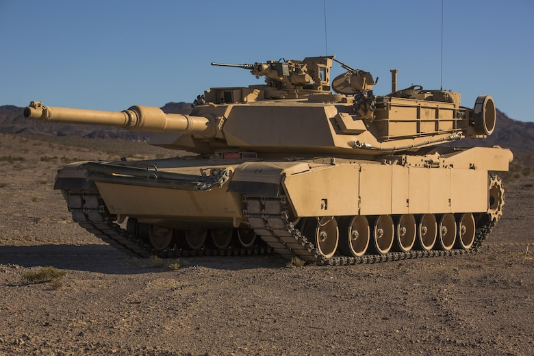 An M1A1 Abrams Main Battle Tank with Company A, 1st Tank Battalion, awaits close-air support during a Tank Mechanized Assault Course as part of Integrated Training Exercise 2-16 in the Quackenbush Training Area aboard the Combat Center Feb. 9, 2016. ITX is designed to prepare units for combat, under the most realistic conditions possible, focusing on battalion and squad level training. (Official Marine Corps photo by Lance Cpl. Levi Schultz/Released)