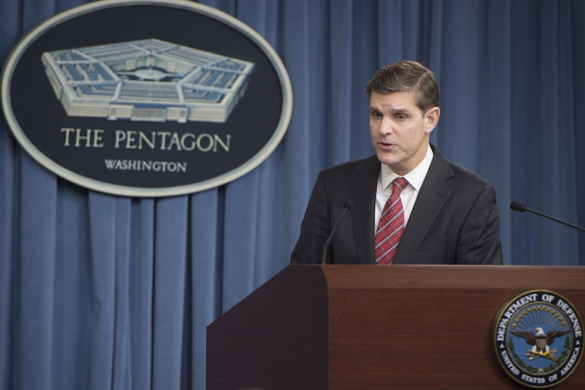 Pentagon Press Secretary Peter Cook addresses reporters' questions during a briefing at the Pentagon, Feb. 19, 2016. DoD photo by Navy Petty Officer 1st Class Tim D. Godbee