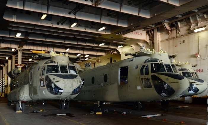 "Several Apache, Chinook and Black Hawk helicopters were offloaded from the Cape Race, a vehicle carrier stationed in Norfolk, Virginia, during a four-day, joint redeployment operation aboard Marine Corps Support Facility, Blount Island Command, Jacksonville, Fla., Jan. 13-17. Soldiers with the 101st Combat Aviation Brigade, Fort Campbell, Ky., nicknamed the ""Wings of Destiny,"" returned to BICmd from their nine-month deployment to Afghanistan."