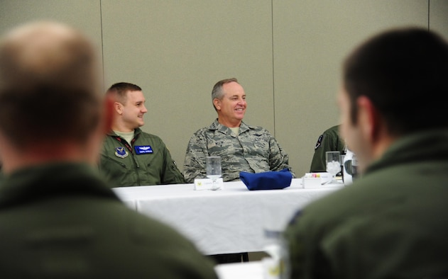 Air Force Chief of Staff Gen. Mark A. Welsh III shares a conversation with B-2 Spirit pilots during a roundtable at Whiteman Air Force Base, Mo. Feb. 17, 2016. Welsh stressed the importance of the strategic deterrence mission and expressed his gratitude to the pilots for their support of the base's unique B-2 mission. (U.S. Air Force photo/Senior Airman Joel Pfiester)