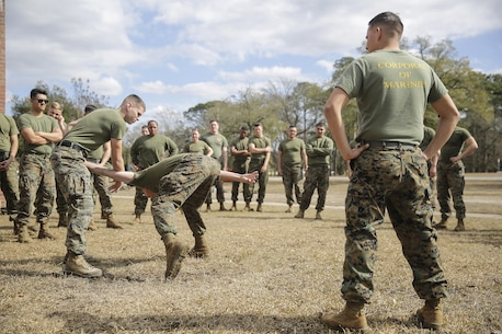 Marines with the Evacuation Control Center team from Combat Logistics Battalion 2 practice Mechanical Advantage Control Holds as part of a riot control exercise on Camp Lejeune, N.C., Feb. 17, 2016. These techniques use an opponent's momentum and position as tools to subdue the individual and maintain control of the situation. (U.S. Marine Corps photo taken by Cpl. Alexander Mitchell/released)