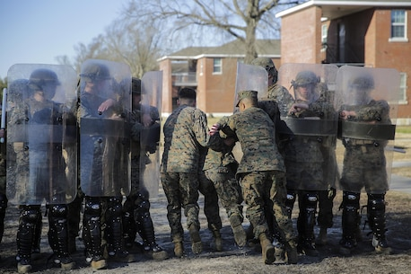 Marines with 2nd Law Enforcement Battalion practice an extraction team drill as part of a riot control exercise for the Evacuation Control Center team with Combat Logistics Battalion 2 on Camp Lejeune, N.C., Feb. 19, 2015. The ECC team will stand ready to extract U.S. personnel from a hostile situation in the AFRICOM area of responsibility during CLB-2's upcoming deployment.  (U.S. Marine Corps photo taken by Cpl. Alexander Mitchell/released)