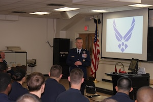 Maj. Gen. Vincent Mancuso, the mobilization assistant to the Air Force chief of staff, speaks to Air Force ROTC Detachment 330 cadets at the University of Maryland in College Park, Md., Feb. 18, 2016. Mancuso, who served as an F-4 Phantom II pilot during Operation Desert Storm, spoke to the cadets about personal leadership lessons he learned as a young pilot during the conflict 25 years ago and how those lessons are applicable to the cadets as they begin their Air Force careers as officers. (U.S. Air Force photo/Zach Anderson)