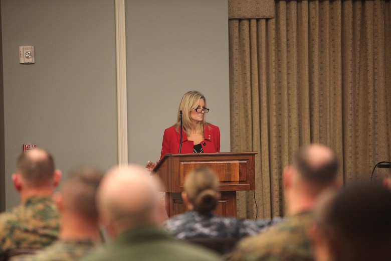 Kim Ruocco speaks with senior leaders during the Suicide Prevention Leadership Symposium at Marine Corps Air Station Cherry Point, N.C., Jan. 28. The Marines were visited by suicide prevention specialist who spoke on topics including: the difference between suicide prevention and post-vention; national trends and support for suicide; and Marine Corps initiatives and response to suicide. During the seminar senior leaders were able to ask questions and deliberate on ways to improve the Marine Corps approach to handle suicide. Ruocco is the chief external relations officer for suicide prevention and post-vention with the Tragedy Assistance Program for Survivors.