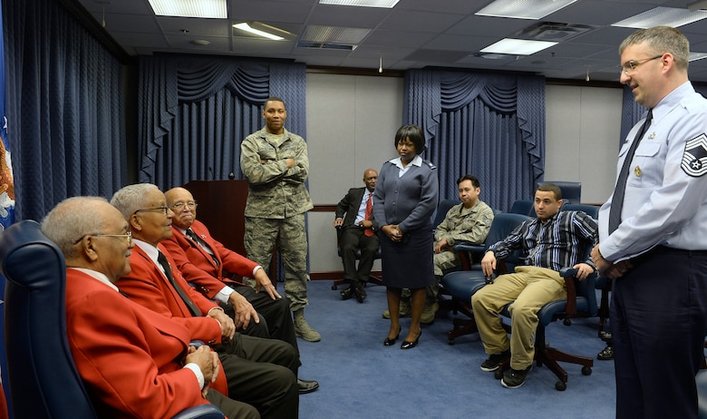 Tuskegee Airmen former Cadet William Fauntroy Jr., retired Col. Charles McGee and former Cadet Walter Robinson Sr. share their stories with a group of Airmen and civilians at the Pentagon Feb. 16; 2016. (U.S. Air Force photo/Scott M. Ash)