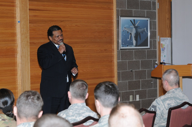 Pastor Billy G. Russell, Senior Pastor of Greater Friendship Missionary Baptist Church, Minneapolis, Minn., shares remarks with members of the Minnesota National Guard while in Duluth, Minn., on Feb. 5, 2016.  Russell was at the 148th Fighter Wing to share his experiences about the hardships he encountered growing up during racial segregation and to talk about the importance of diversity.  (U.S. Air National Guard photo by Master Sgt. Ralph Kapustka)
