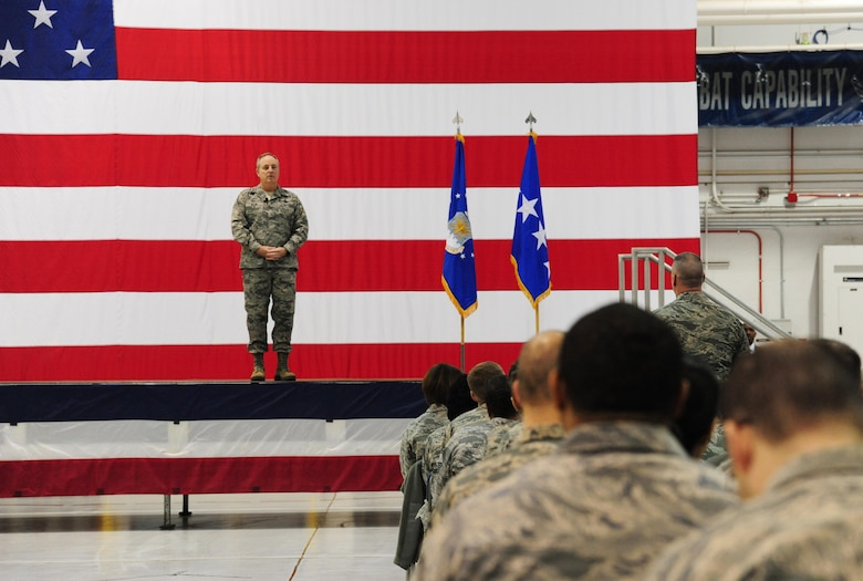 Air Force Chief of Staff Gen. Mark A. Welsh III speaks at an all call during his visit at Whiteman Air Force Base, Mo., Feb. 17, 2016. Welsh stressed the importance of executing the Global Strike mission and expressed his gratitude to the Total Force Airmen. (U.S. Air Force photo by Senior Airman Joel Pfiester)