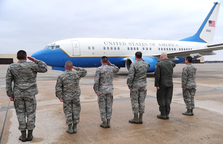 Leadership from Whiteman Air Force Base, Mo., salutes during the arrival of the Air Force Chief of Staff, Gen. Mark A. Welsh III, Feb. 16, 2016. Welsh met with Airmen leadership from the 509th and 131st Bomb Wings as well as the 442d Fighter Wing to discuss the importance of Total Force Integration (U.S. Air Force photo by Senior Airman Joel Pfiester)