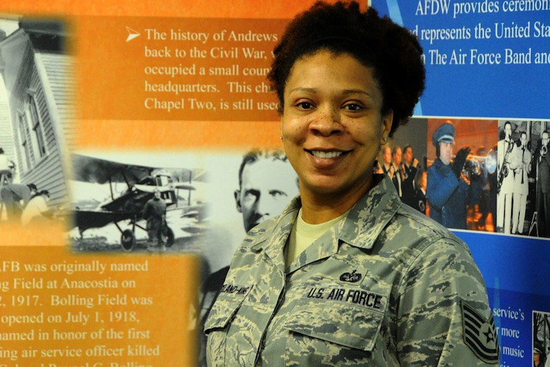 Tech. Sgt. Marcie Strickland-King, an Air Force District of Washington Capital Airman, helps uphold legal integrity within the National Capital Region and across the world. Stricklandking is the NCOIC of military justice in the AFDW Judge Advocate Directorate.  Air Force District of Washington Capital Airmen have made a difference in their units by their outstanding performance. Capital Airmen, selected by AFDW leaders, epitomize the pride, teamwork, and success that drive the AFDW mission. (U.S. Air Force photo/Tech Sgt. Matt Davis)