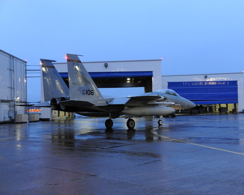 Col. Adam Sitler, 142nd Operations Group Commander, taxis for his training mission from the Portland Air National Guard Base, Ore., February 18, 2016. This flight will mark 3,000 flight hours in an F-15 Eagle, making Sitler the 99th Pilot on record to do so in and F-15.  (U.S. Air National Guard photo by Master Sgt. Shelly Davison, 142nd Fighter Wing Public Affairs)