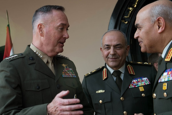Marine Corps Gen. Joseph F. Dunford Jr., chairman of the Joint Chiefs of Staff, talks with Egyptian Defense Minister Col. Gen. Sedki Sobhy, right, and Egyptian Chief of the Armed Forces Lt. Gen. Mahmoud Hegazy, center, at the Ministry of Defense in Cairo, Feb. 20, 2016. DoD photo by D. Myles Cullen